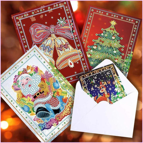 Image of Holiday Christmas Card 5D Diamond Painting - Special (PACK OF 4)-Christmas Cards-Heartful Diamonds