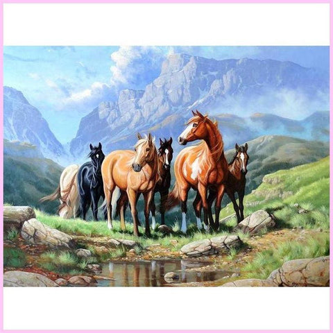 Image of Horses Exploring the Mountainside-Diamond Painting Kit-20x30cm (8x12 in)-Square-Heartful Diamonds