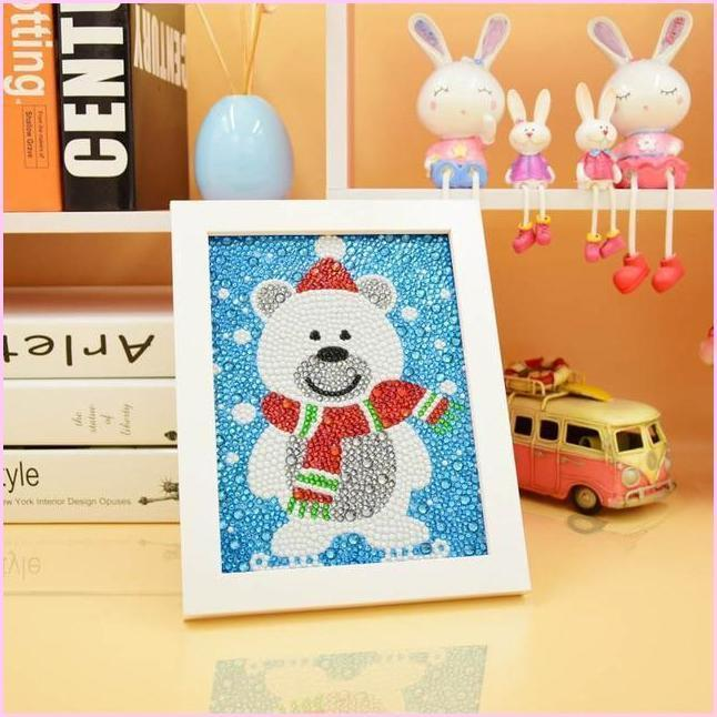 "Kids ""Pebbles"" Diamond Painting - Cute Polar Bear (Frame Optional)-Special Diamond Painting Kit-15x20cm (6x8 in)-Heartful Diamonds"