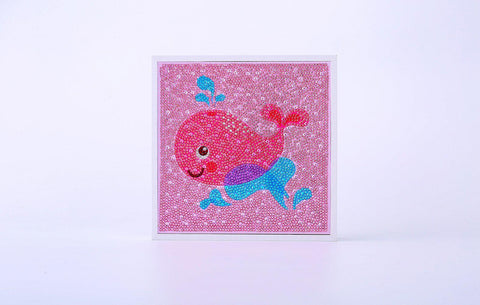 "Image of Kids ""Pebbles"" Diamond Painting - Happy Pink Whale-Special Diamond Painting Kit-Heartful Diamonds"