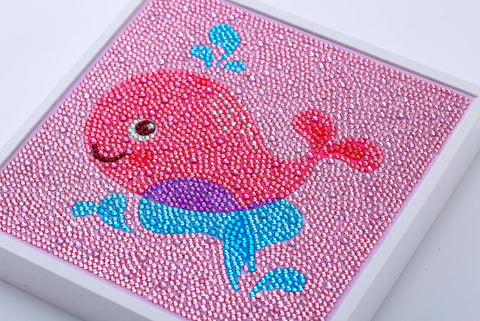 "Kids ""Pebbles"" Diamond Painting - Happy Pink Whale-Special Diamond Painting Kit-Heartful Diamonds"