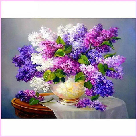 Lavender Flowers in Golden Vase-Diamond Painting Kit USPS-30x40cm (12x16 in)-Square-Heartful Diamonds