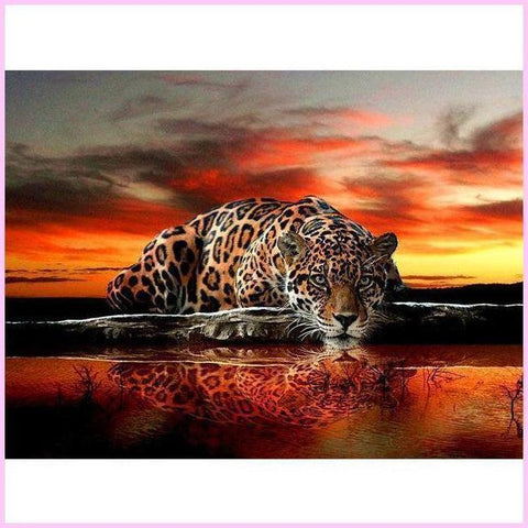 Image of Leopard Resting in the African Sunset-Diamond Painting Kit-30x40cm (12x16 in)-Square-Heartful Diamonds