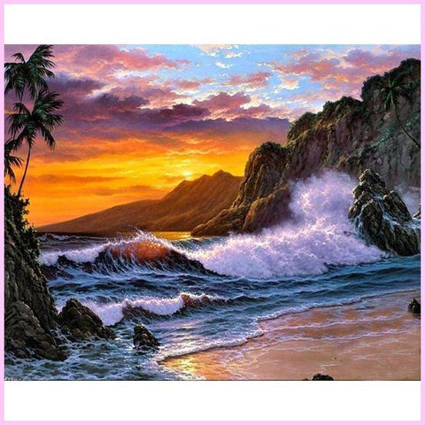 Image of Lovely Sunset Waves-Diamond Painting Kit USPS-20x25cm (8x10 in)-Square-Heartful Diamonds