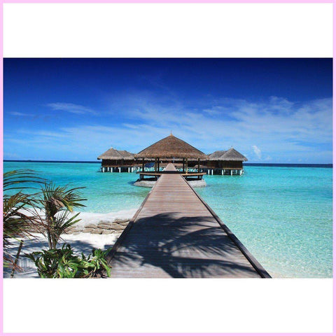 Maldives Cottages-Diamond Painting Kit-25x40cm (10x16 in)-Square-Heartful Diamonds