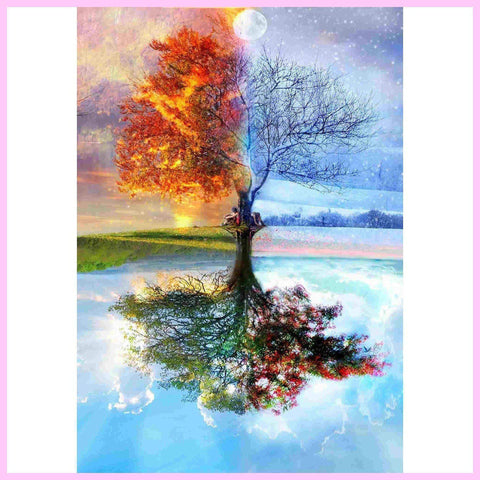 Memories of 4 Seasons Together - Diamond Painting Kit USPS-20x30cm (8x12 in)-Square-Heartful Diamonds