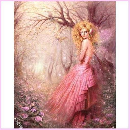 Mystical Fairy Collection Forest Pink-Diamond Painting Kit-30x40cm (12x16 in)-Square-Heartful Diamonds