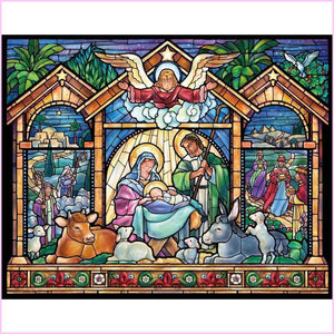 Nativity Scene - Stained Glass Edition-Diamond Painting Kit USPS-30x40cm (12x16 in)-Square-Heartful Diamonds