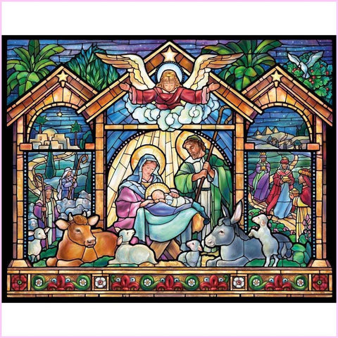 Image of Nativity Scene - Stained Glass Edition-Diamond Painting Kit USPS-30x40cm (12x16 in)-Square-Heartful Diamonds