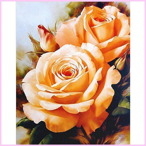 Orange Blooming Roses-Diamond Painting Kit-40x50cm (16x20 in)-Square-Heartful Diamonds