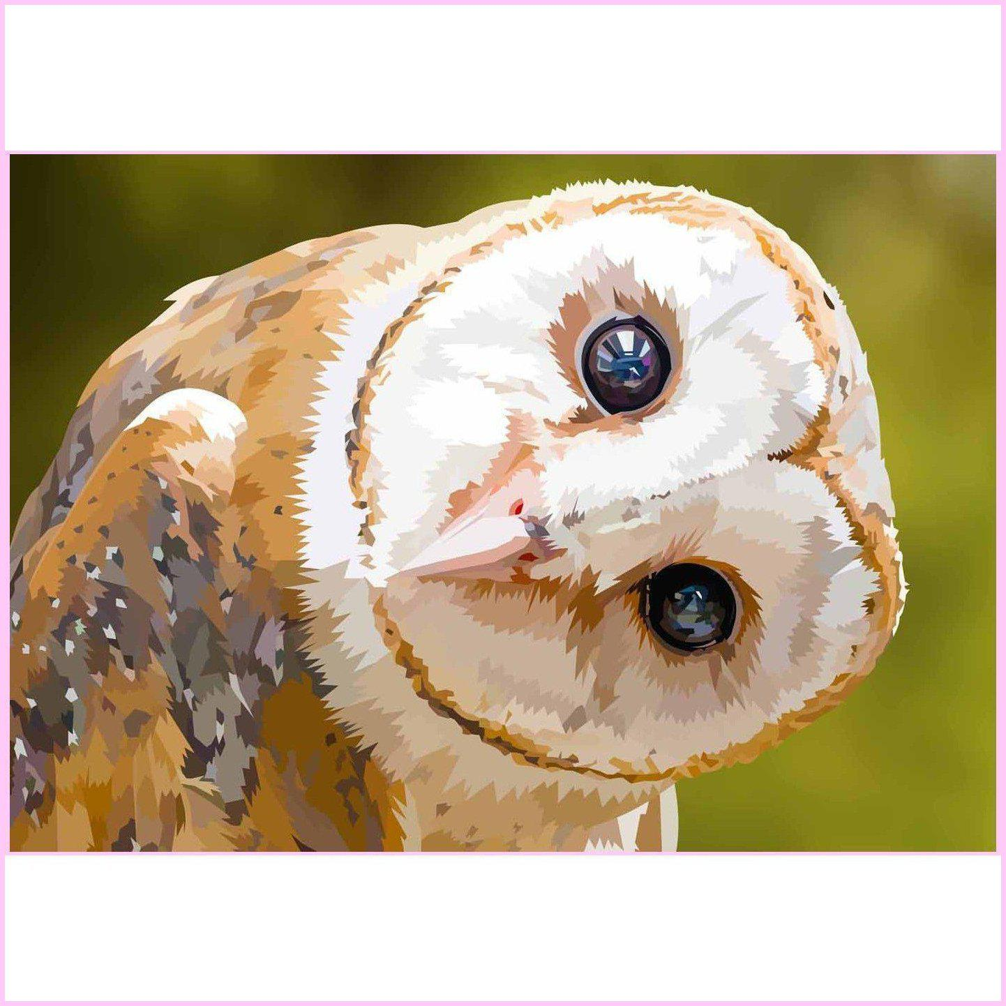 Peeking Barn Owl-Diamond Painting Kit-35x50cm (14x20 in)-Square-Heartful Diamonds