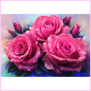 Pink Roses in Full Bloom-Diamond Painting Kit USPS-20x30cm (8x12 in)-Square-Heartful Diamonds