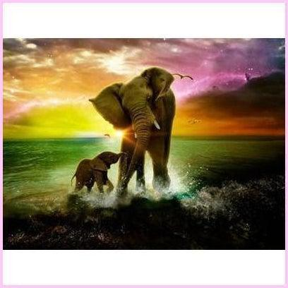 Image of Pleasant Dreams of an Elephant Mother-Diamond Painting Kit USPS-elephant-30x40cm (12x16 in)-Square-Heartful Diamonds