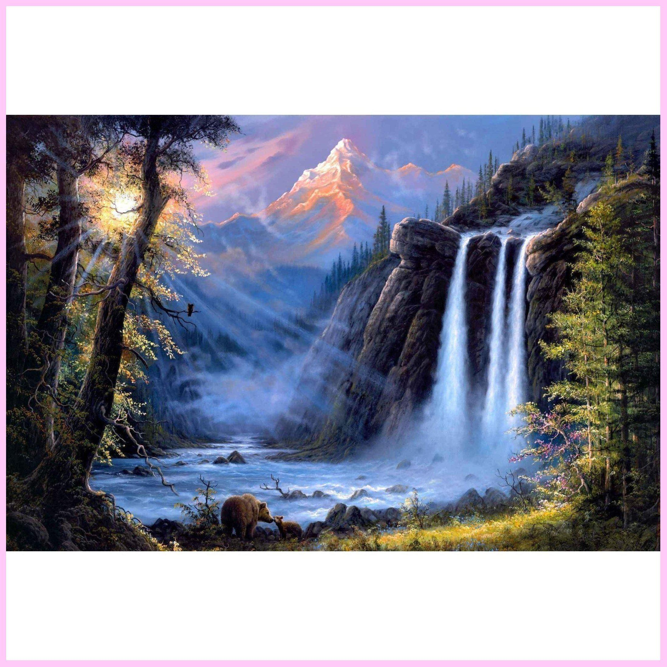 Pristine Waterfall Sunrise-Diamond Painting Kit-40x50cm (16x20 in)-Square-Heartful Diamonds