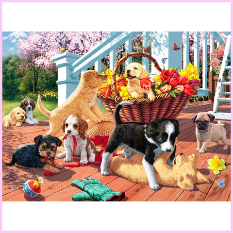 Puppy Mischief-Diamond Painting Kit USPS-30x40cm (12x16 in)-Square-Heartful Diamonds