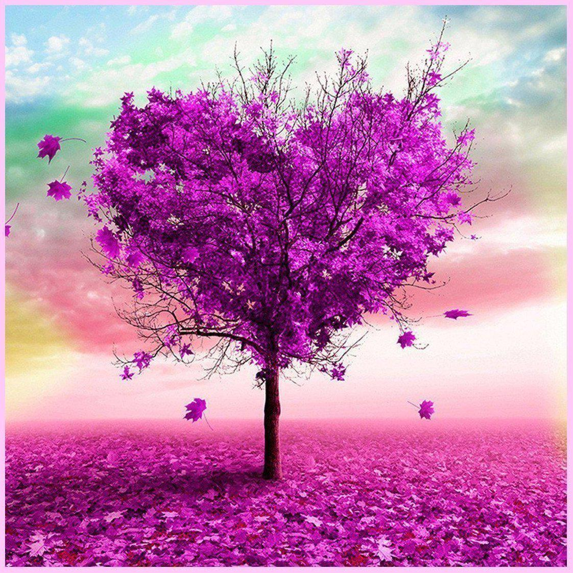 Purple Fall Leaves-Diamond Painting Kit-30x30cm (12x12 in)-Square-Heartful Diamonds
