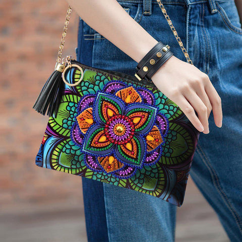 Image of Purple Flora Diamond Painting Sling Purse-Purse-Heartful Diamonds