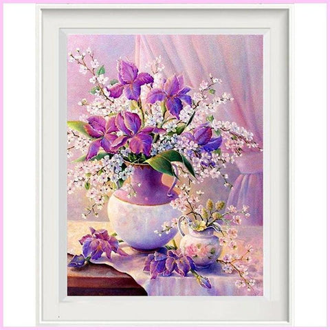 Image of Purple Flower Vase Full Drill DIY Diamond Painting Kit