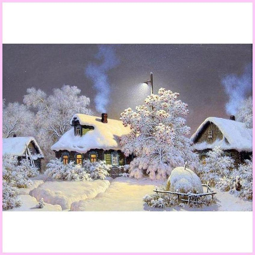 Quiet Rural Winter-Diamond Painting Kit-25x40cm (10x16 in)-Square-Heartful Diamonds