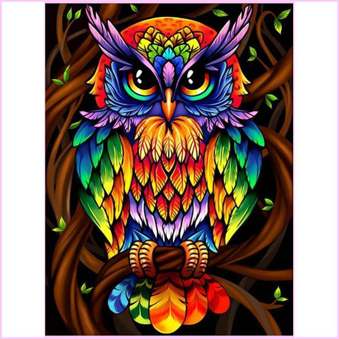 Image of Rainbow Owl-Diamond Painting Kit-30x40cm (12x16 in)-Square-Heartful Diamonds