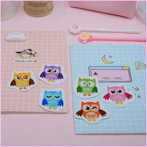 Image of Rainbow Owls - Diamond Art Anywhere Stickers-Anywhere Sticker-Heartful Diamonds