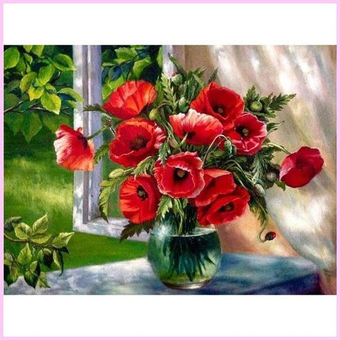 Red Oriental Poppies-Diamond Painting Kit-30x40cm (12x16 in)-Square-Heartful Diamonds