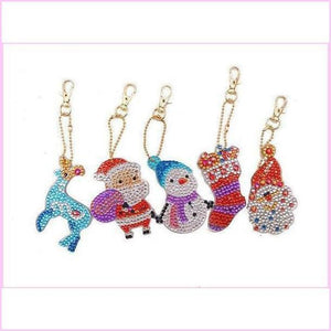 Santa Snowman Reindeer - Diamond Painting Keychains-Key chain-Heartful Diamonds