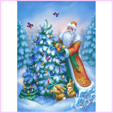 Image of Santa's Christmas Tree - Christmas Full Drill Diamond Painting Kit-Diamond Painting Kit-20x25cm (8x10 in)-Square-Heartful Diamonds