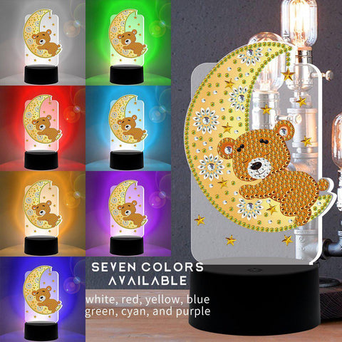 Sleepy Time Bear 3D Night Lamp-3D Night Lamp-Heartful Diamonds