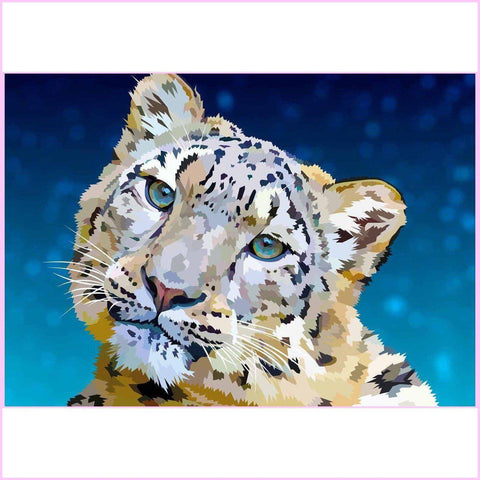 Snow Leopard Cub-Diamond Painting Kit-35x50cm (14x20 in)-Square-Heartful Diamonds