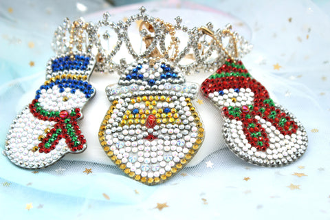 Snowman and Santa Claus - Diamond Painting Keychains-Key chain-Heartful Diamonds