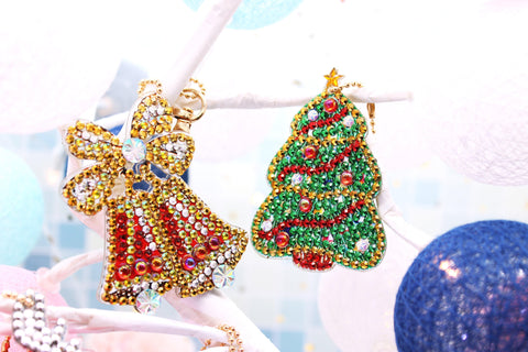 Image of Snowman and Santa Claus - Diamond Painting Keychains-Key chain-Heartful Diamonds