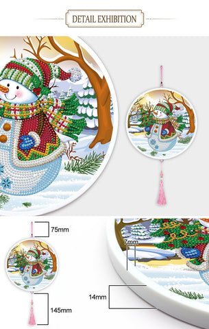 Image of Snowman - Large Hanging Decoration-Large Hanging Decoration-Heartful Diamonds