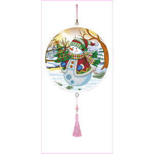 Snowman - Large Hanging Decoration-Large Hanging Decoration-Heartful Diamonds