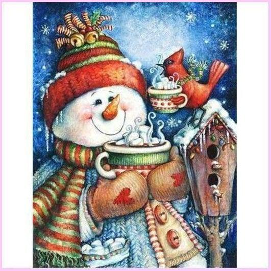 Snowman's Feathered Friend - Christmas Full Drill Diamond Painting Kit-Diamond Painting Kit-20x30cm (8x12 in)-Square-Heartful Diamonds