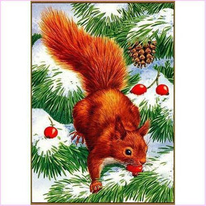 Squirrel in Snow - Starter Edition-Starter Kit-Squirrel-20x30cm (8x12 in)-Heartful Diamonds