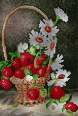Image of Strawberries and Daisies - Starter Edition-Starter Kit-Strawberries and Daisies-20x30cm (8x12 in)-Heartful Diamonds