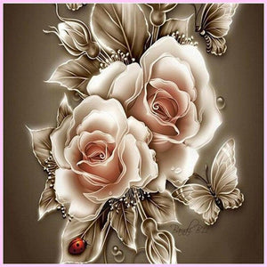 Stylized Gold Roses-Diamond Painting Kit-30x30cm (12x12 in)-Square-Heartful Diamonds