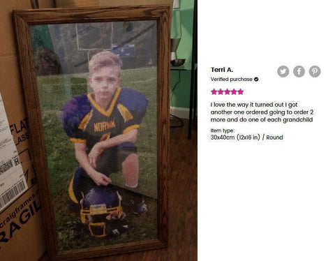Image of 5 star review of a DIY custom diamond painting (size 12X16 inches) of a kid in football uniform from Heartful Diamonds