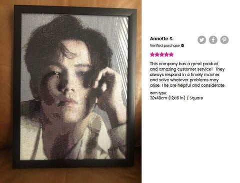 Image of 5 star review of a DIY custom diamond painting (size 12X16 inches) of a portrait of an asian man from Heartful Diamonds