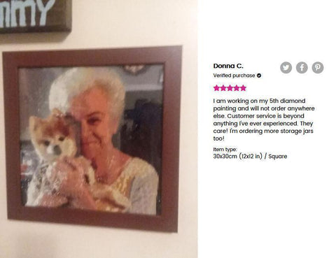 5 star review of a DIY custom diamond painting (size 12X12 inches) of a senior woman carrying her dog from Heartful Diamonds