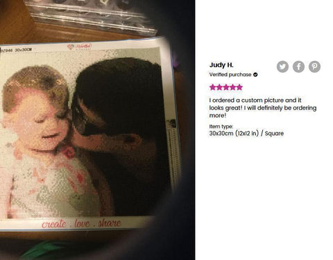 Image of 5 star review of a DIY custom diamond painting (size 12X12 inches) of a man kissing a toddler from Heartful Diamonds