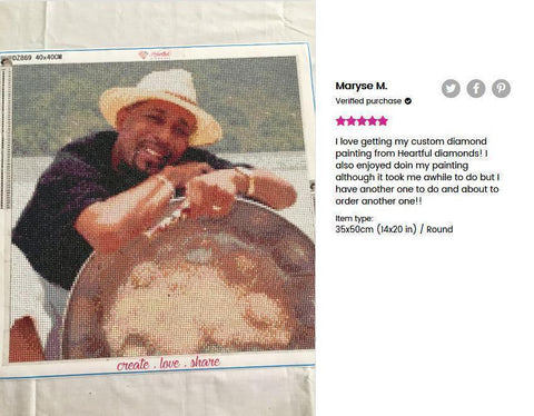 Image of 5 star review of a DIY custom diamond painting 14X20 inches of a black man leaning on a silver saucer from Heartful Diamonds