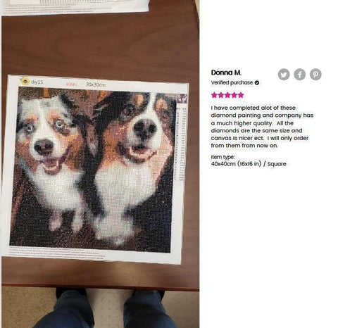 Image of 5 star review of a DIY custom diamond painting 16X16 inches of 2 dogs using square drills from Heartful Diamonds