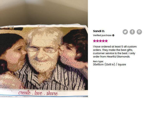 Image of 5 star review of a DIY custom diamond painting 12X18 inches of 2 kids kissing their grandfather from Heartful Diamonds