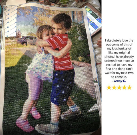 Image of 5 star review of a DIY customd diamond painting of 2 kids  hugging from Heartful Diamonds