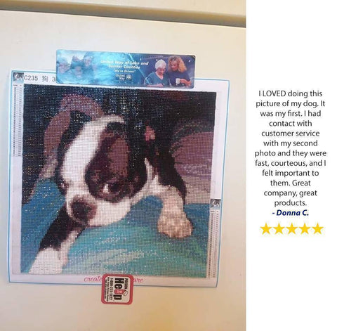 Image of 5 star review of a DIY custom diamond painting of a dog from Heartful Diamonds