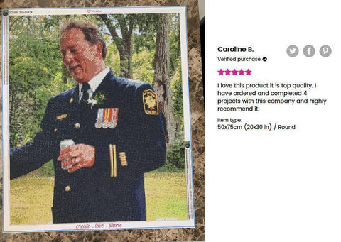 Image of 5 star review of a DIY custom diamond painting (size 20X30 inches) of a man in military uniform from Heartful Diamonds