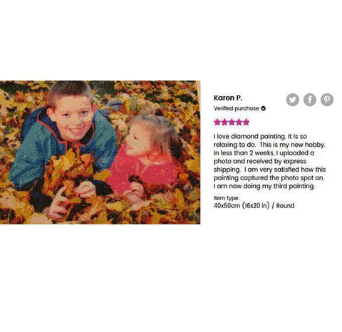 Image of 5 star review of a DIY custom diamond painting of 2 kids playing on the ground with dried leaves from Heartful Diamonds
