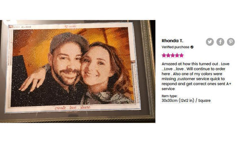 Image of 5 star review of a DIY custom diamond painting (size 12X12 inches) of a couple embracing each other from Heartful Diamonds